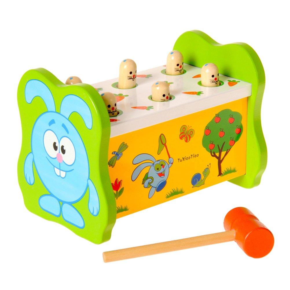 Toyvian Enfants Lapin Poke Une Mole Jouant Au Sol Souris Souris Parent-Enfant Jeu Interactif en Bois Percussion Intellectuel