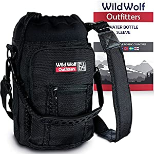 Water Bottle Holder for 64oz Bottles by Wild Wolf Outfitters - Black - Carry, Protect and Insulate Your Best Flask with This Military Grade Carrier w/ 2 Pockets & an Adjustable Padded Shoulder Strap