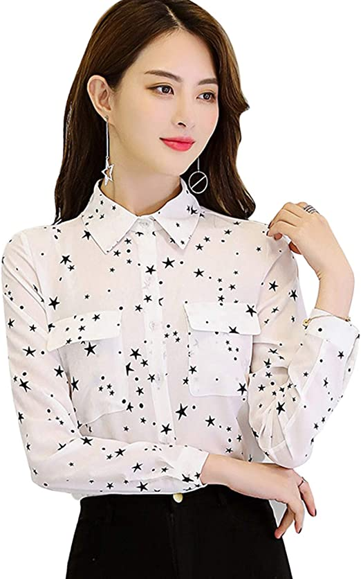 T T Store Blusas Blusas de Oficina para Mujer con Estampado de Estrellas, Manga Larga, Cuello abatible, Camisetas con Botones y Bolsillos, Blusas: Amazon.es: Juguetes y juegos