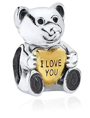 4e2250c96 I Love You Teddy Bear Charm - Gold Heart S925 Sterling Silver fits Pandora  Women's Charm Bracelet Bead - Gift boxed: Amazon.co.uk: Jewellery