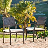 Edene Outdoor Multibrown Wicker Dining Chairs with White Water Resistant Cushions (Set of 2) For Sale