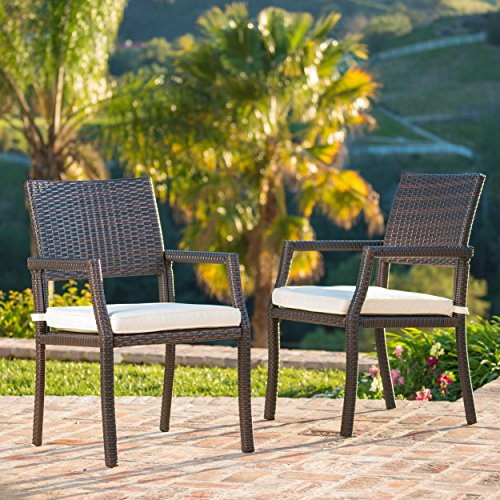 Edene Outdoor Multibrown Wicker Dining Chairs with White Water Resistant Cushions (Set of 2)