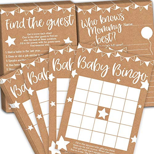 Baby Bingo Baby Shower Games, Find the Guest and Who Knows Mommy Best, 25 Cards per Game (75 Cards Total), Fun Baby Shower Games MULTI PACK