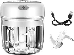 YANCAI Electric Garlic Masher, Rechargeable Garlic Press Mincer Pepper Vegetable Nuts Grinder, Food Processor Mincer Blender(White)