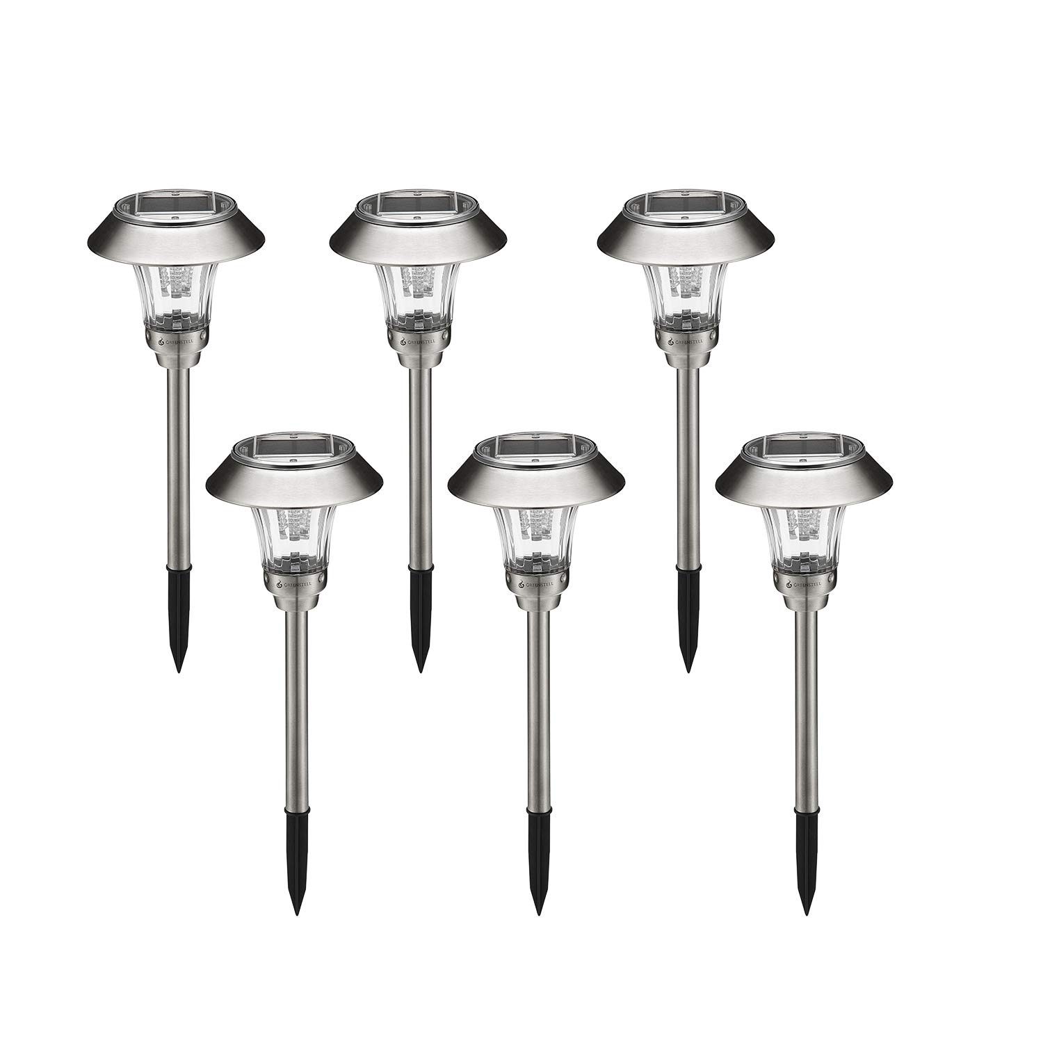 Greenstell Solar Garden Lights Outdoor,Super-Bright,Auto On/Off,Waterproof,LED Solar Powered Pathway Light for Garden,Landscape,Path,Yard,Patio,Driveway,Walkway,Sliver(6 Pack) by Greenstell