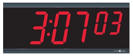 "Pirámide 4 ""carácter, rojo de 4 dígitos LED RF inalámbrico Digital reloj,"