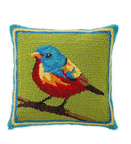 Indoor/Outdoor Hooked Painted Bunting Throw Pillow, 18 sq. (And Plow Pillows Outdoor Hearth)