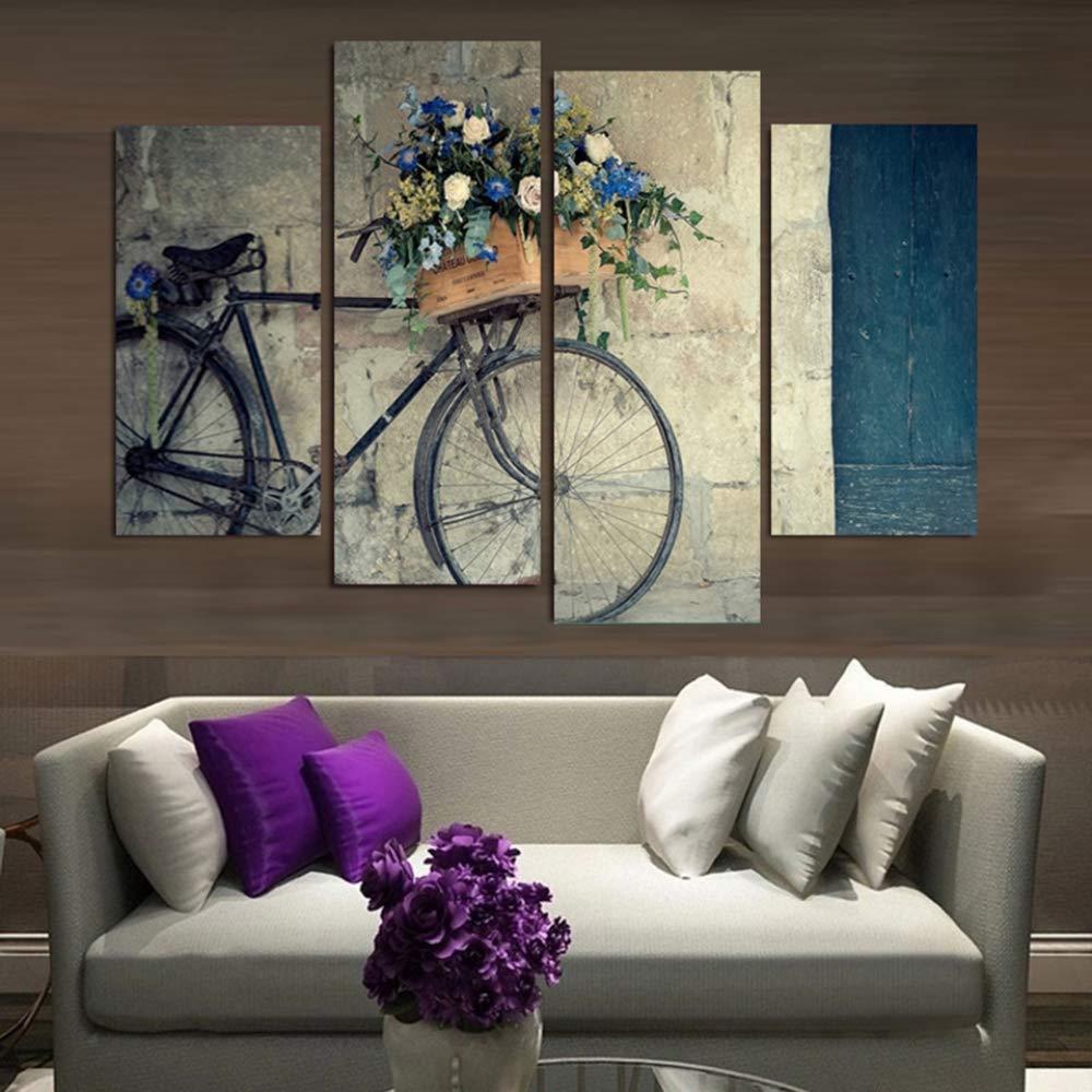 ISAAC ENGLAND Gerahmte Malerei Wandkunst HD Leinwand Poster Dekoration 4 Panel Retro Bike Blumen für Wohnzimmer Modular Printed Bilder-XL