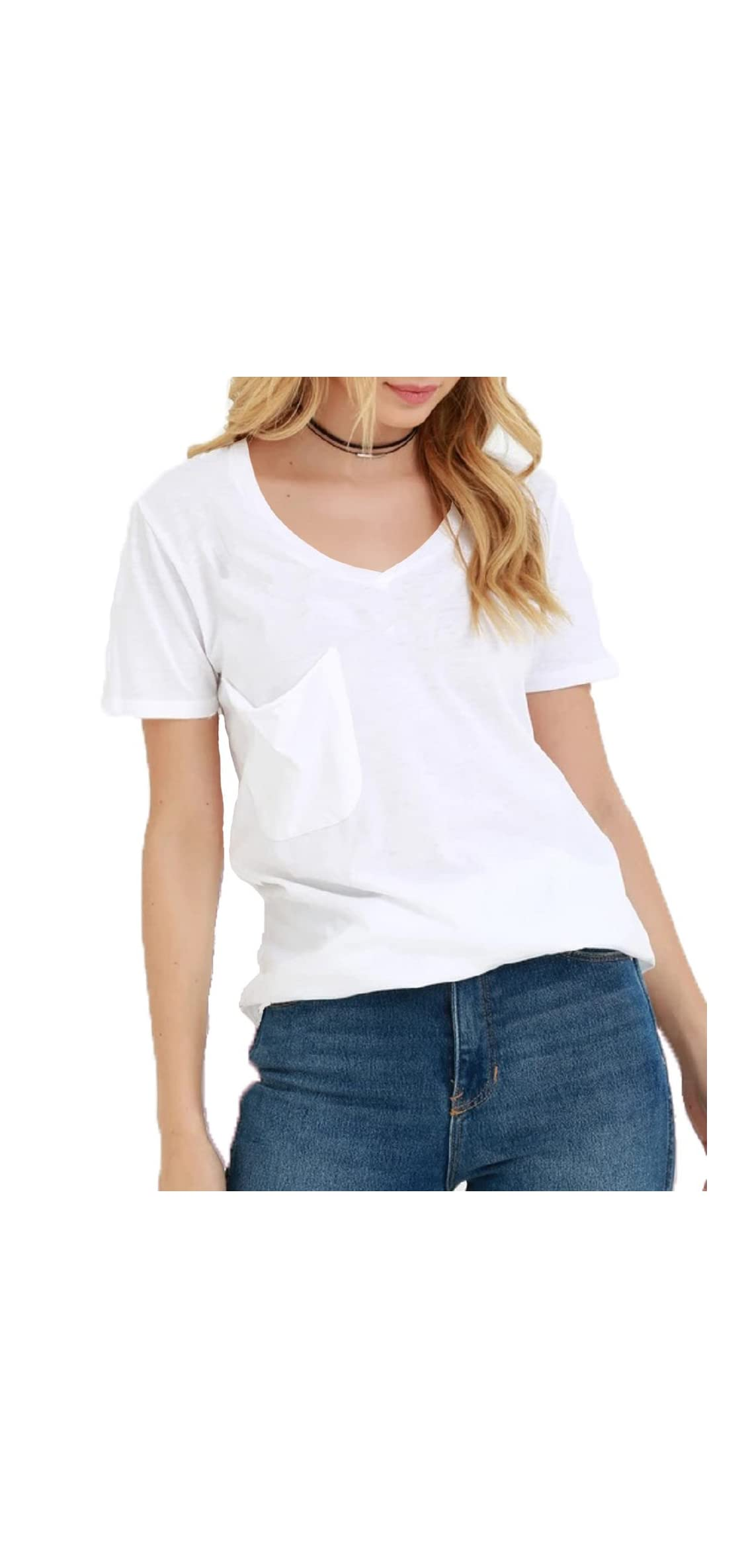 Women's Summer Casual Sexy Short Sleeve V Neck Patch Slub