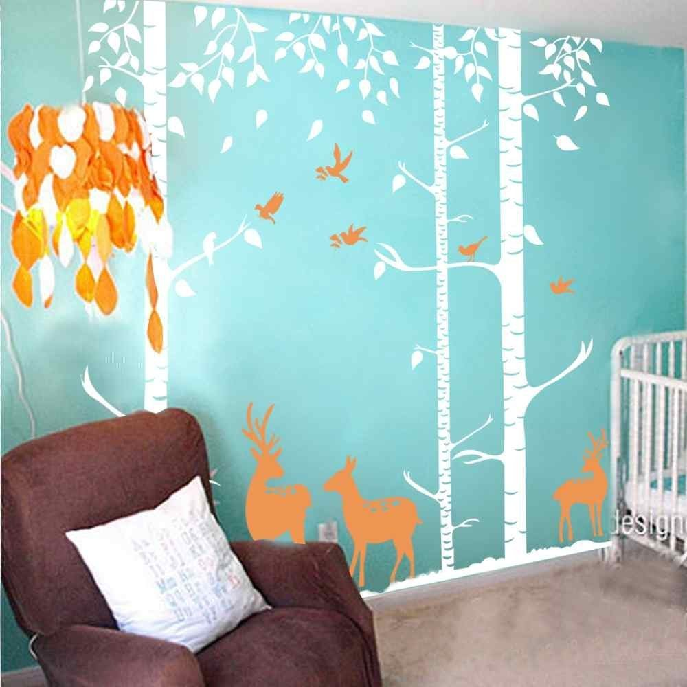 Birch Tree Wall Decal Forest with Birds and Deers Vinyl Sticker Removable(9 feet, Color1) by ppty