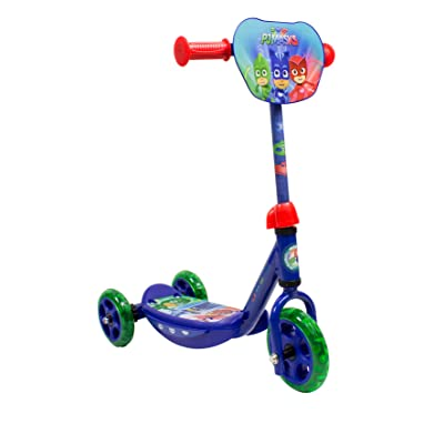 PJ Masks OPJM110 Kid's Three Wheel Tri Scooter with Adjustable Handlebar and Front Plate: Toys & Games