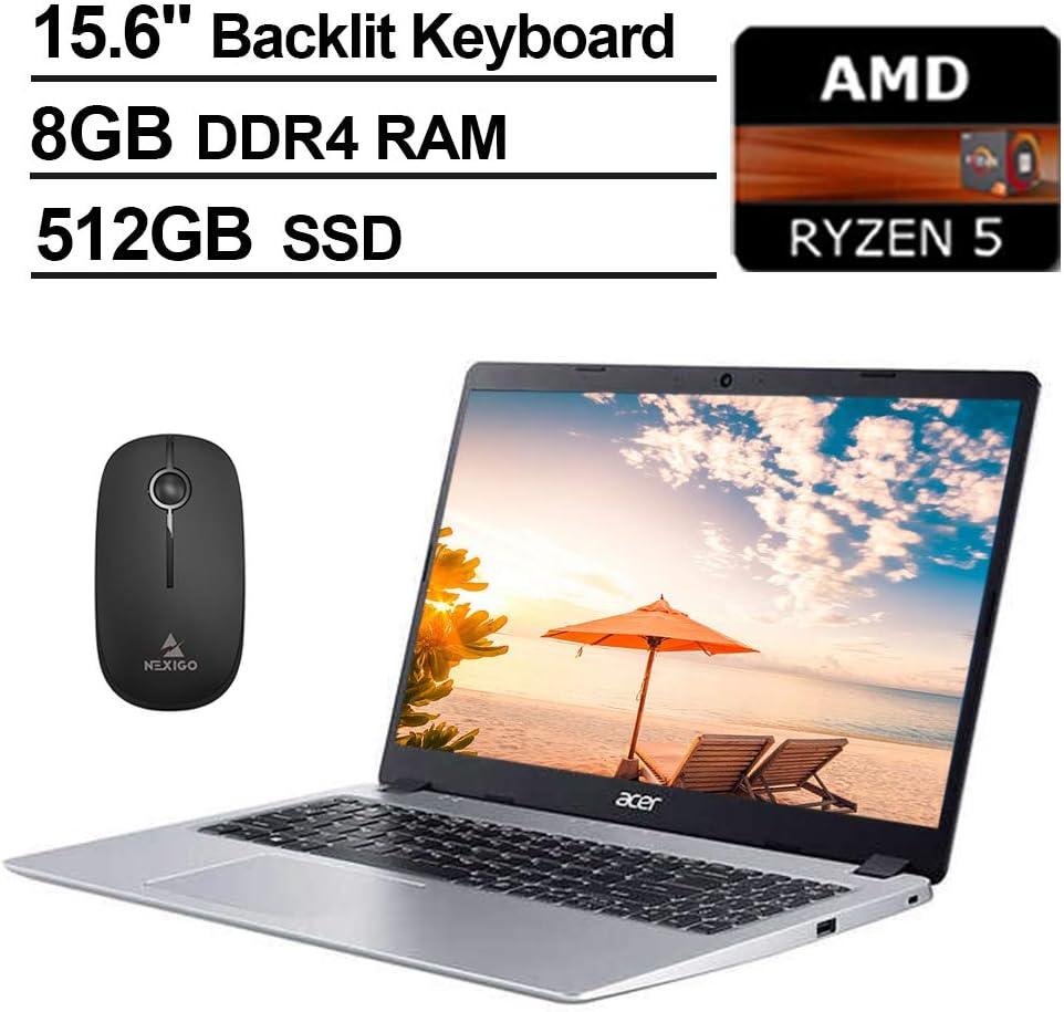 2020 Acer Aspire 5 15.6 Inch FHD 1080P Laptop, AMD Ryzen 5 3500U up to 3.7 GHz, 8GB DDR4 RAM, 512GB SSD, Backlit KB, Bluetooth, Webcam, Win10 + NexiGo Wireless Mouse Bundle