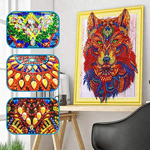 (5D DIY Special Shaped Diamond Painting Kit, 15.7X 11.8 Inch Crystal Rhinestone Diamond Embroidery Paintings Pictures Arts Craft for Home Wall Decor (Green Wolf))
