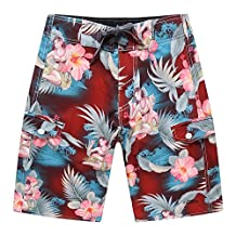 Men's Beach Wear Board Shorts with Pocket in Red Hula Girl Cocktail
