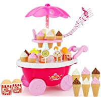 Funnytool Luxury Supermarket Shop -Pink, Candy Sweet Shopping Cart, Ice Cream Role Play Set Toy for Kids (39piece)