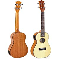 """Kmise Solid Concert Ukulele, Electric Ukelele Uke with EQ Spruce 23"""" Electro-Acoustic UK-24B"""