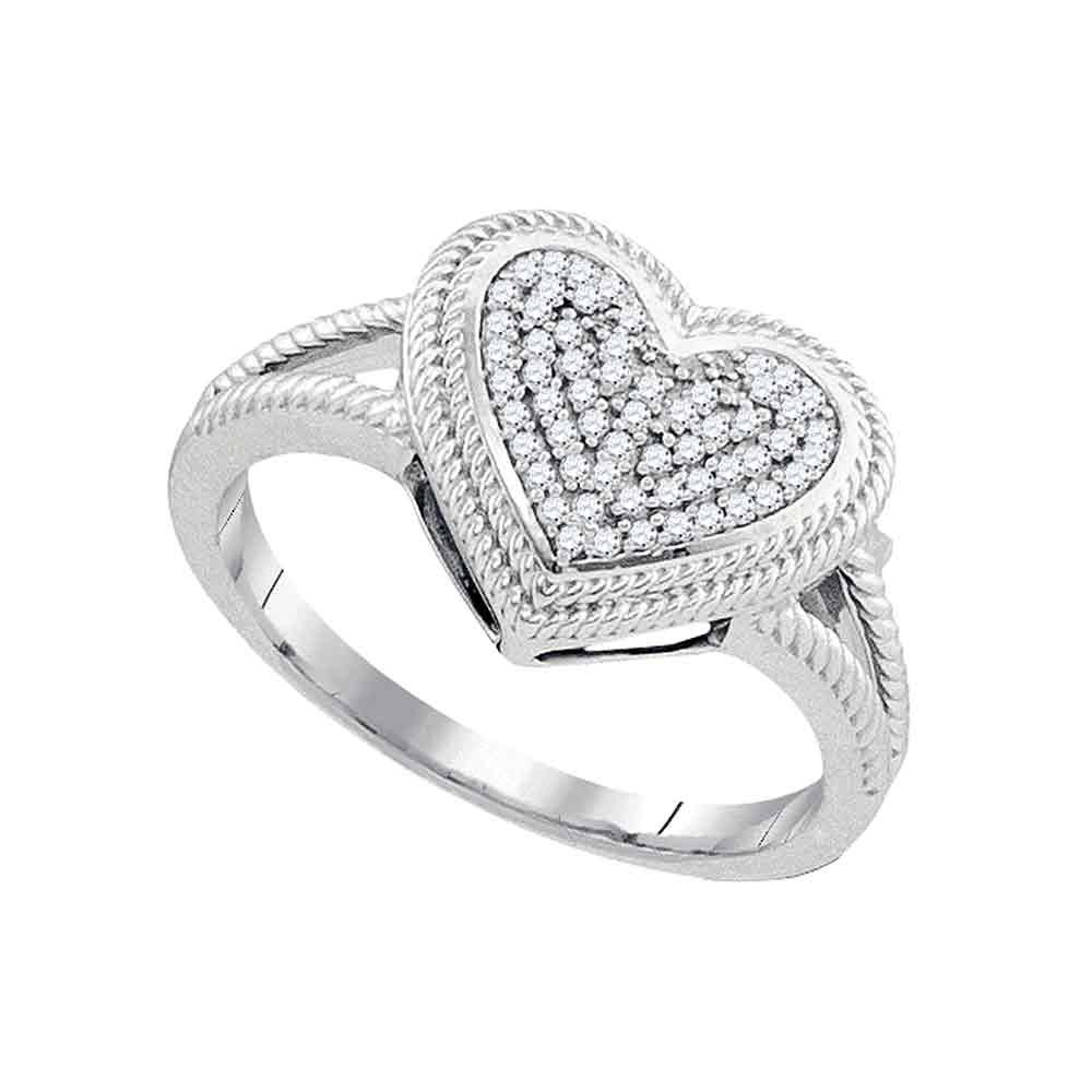 10kt White Gold Womens Round Diamond Rope Heart Love Cluster Ring 1/6 Cttw