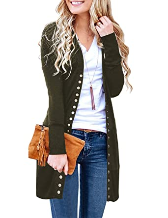 Long Sleeve Snap Button Down Ribbed Neckline Cardigans