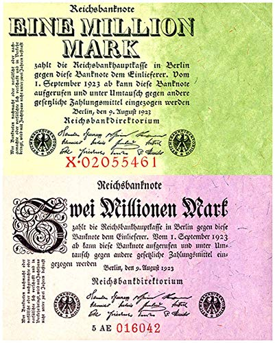 (DE 1923 SCARCE 1 + 2 MILLION MARK INFLATION BILLS w FULL COLOR TINTS! Crisp Extra Fine to About Uncirculated)