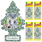 Automotive : LITTLE TREES Car Air Freshener | Hanging Tree Provides Long Lasting Scent for Auto or Home | Eucalyptus, 6-Packs (4 count)