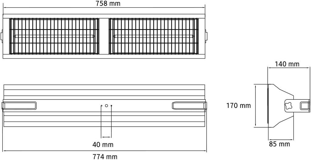 Infarotheizung f/ür Hallen und Lager Professioneller Heizstrahler 3000 Watt IP55 ICQN IT3000.L Halogen Low Glare Heizstrahler Thermo Series Infarotstrahler