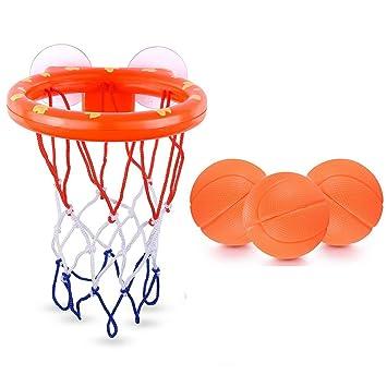 WEIHAN Bath Toys Aro de Baloncesto y Juego de 3 Bolas para ...