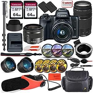 Canon EOS M50 Mirrorless Digital Camera (Black) with EF-M 15-45mm Lens & EF 75-300mm Lens Bundle + EF-M to EF/EF-S Lens…