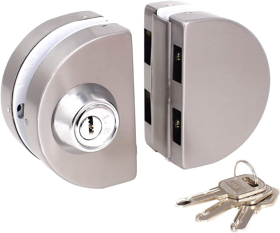 Cerradura de puerta de cristal de desplazamiento - TOOGOO(R) cerradura de puerta de batientes de empuje de puerta de entrada de cristal de 10-12mm con llaves