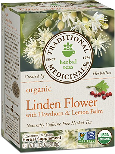 Traditional Medicinals Organic Linden Flower with Hawthorn and Lemon Balm Tea, 16 Tea Bags - Flowers Medicinal
