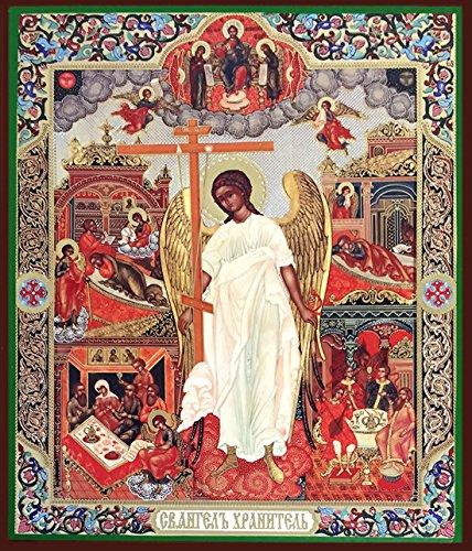 Guardian Angel Holding Three Bar Cross Feast Days Russian Icon Wood Wall 8 1/4 Inch