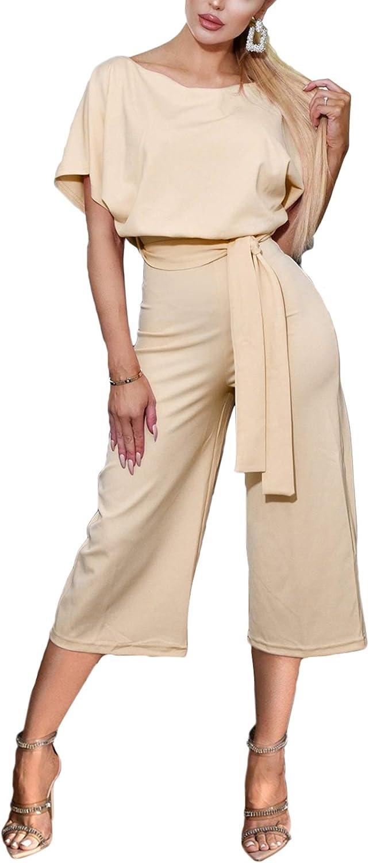 BTFBM Women Short Sleeve Casual Loose Fit Long Pant Jumpsuits Romper with Belt