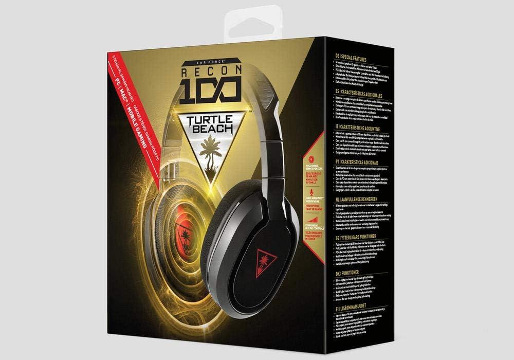 Turtle Beach Ear Force Recon 100 Binaural Diadema Negro, Rojo - Auriculares con micrófono (PC/Juegos, Binaural, Diadema, Negro, Rojo, Tela, PC, Apple Mac)