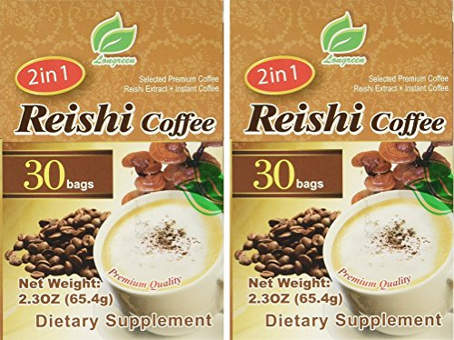 (Reishi Coffee 2 in 1 - Selected Premium Coffee - Reishi Extract and Instant Coffee - 30 Bags Per Box (Pack of 2))