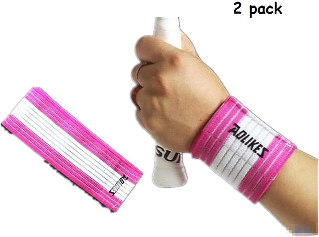 Kagogo Wrist Compression Wrap Support Bandage Brace Guard Injury Pain Sports Pad,Pack of 2 (White&Pink): Clothing