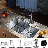 Kraus KHU123-32-KPF1612-KSD30CH 32 inch Undermount Double Bowl Stainless Steel Kitchen Sink with Chrome Kitchen...
