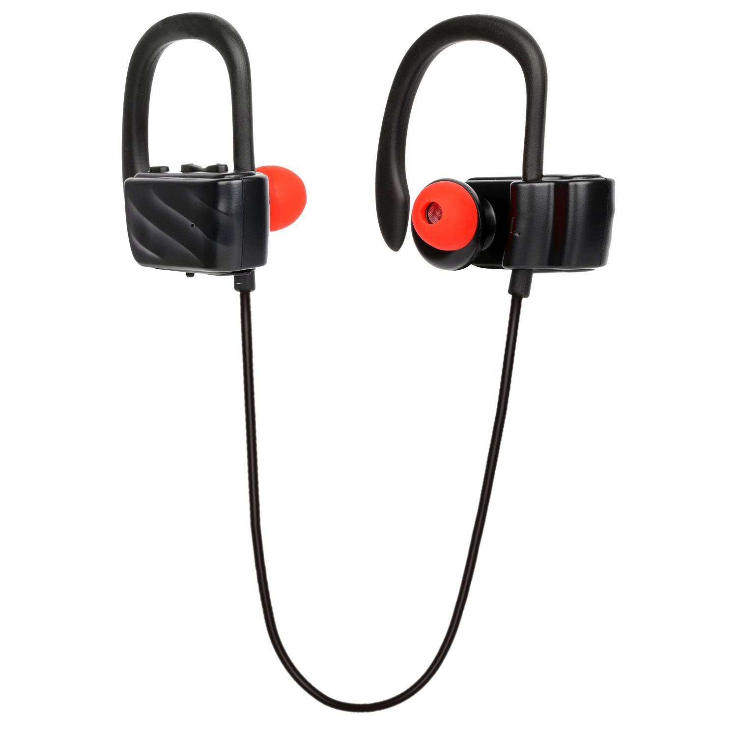 Bluetooth Earbuds, Wireless Sweatproof Sports Headphones, 4.1 Bluetooth Secure Ear Hooks Design With Noise Cancelling, 8.5 Hours Play Time - Black