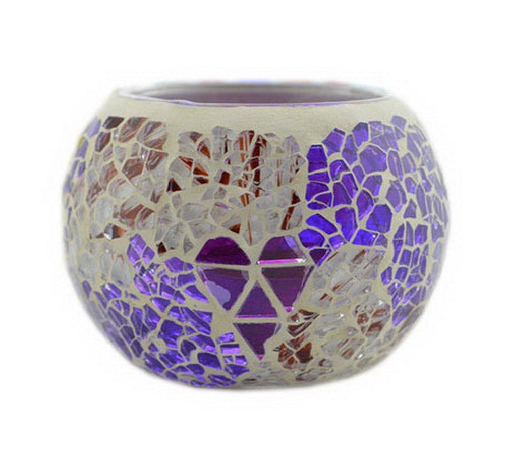 Magnifique porte bougie Decortaive Mosaïque Photophore en verre Violet Blancho Bedding