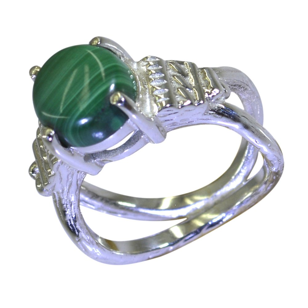 Natural Round Malachite Ring 925 Silver Split Shank Style Round Shape Handmade Size 5,6,7,8,9,10,11,12