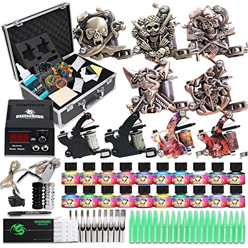 DragonHawk Starter Complete Tattoo Kit 9Pcs Colis Tattoo Machine Gun Power Supply Immortal Tattoo Inks 50 Needles Foot Pedal Grips Tips Set D23