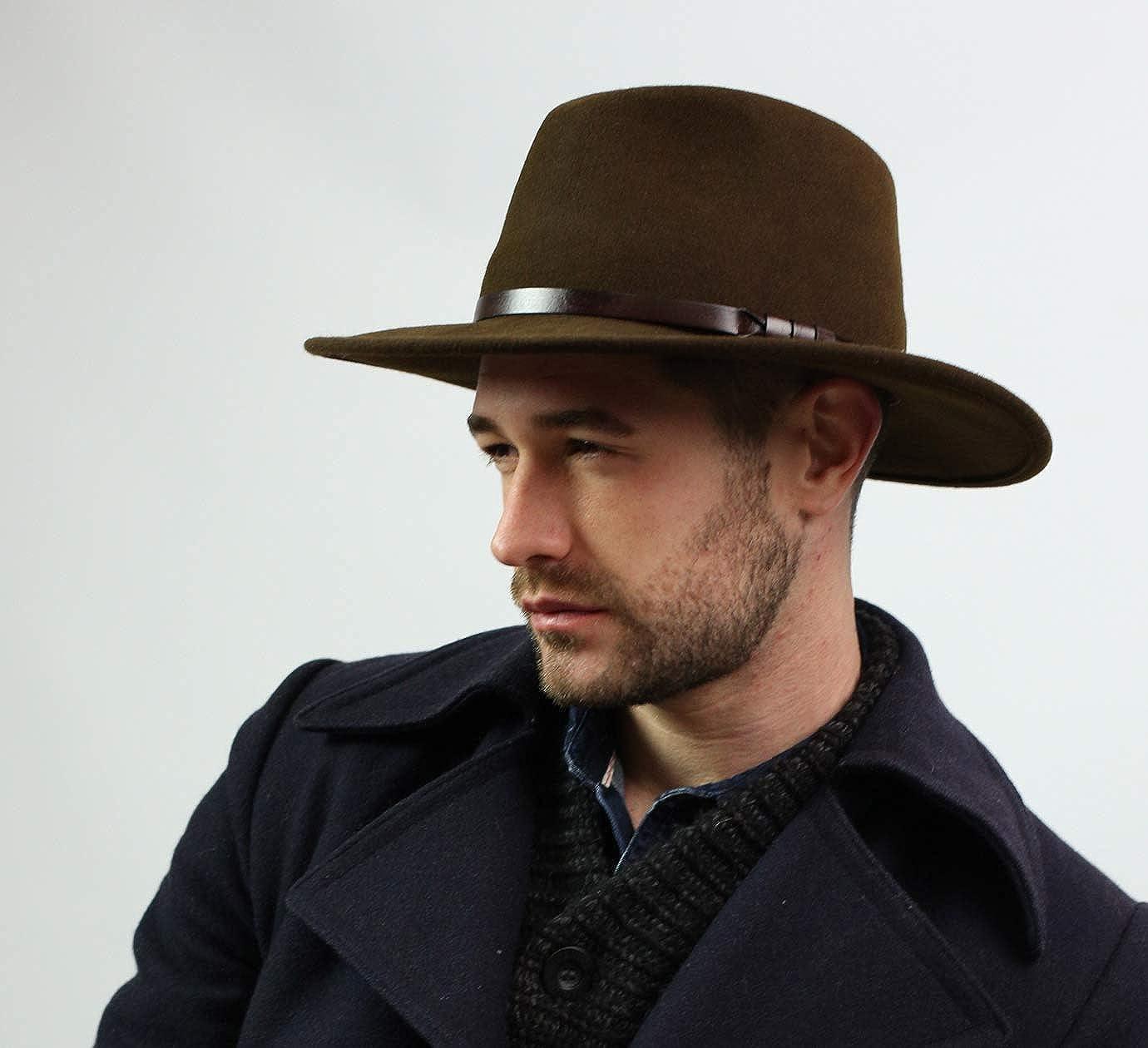 Fedora Hat Wool Felt Packable Water Repellent Wide Brim Classique Large Classic Italy