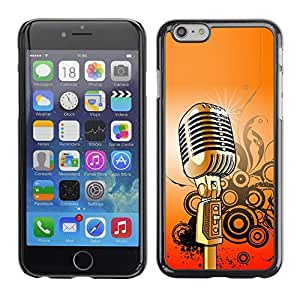 KOKO CASE / Apple Iphone 6 / microphone music singing retro vintage / Slim Black Plastic Case Cover Shell Armor
