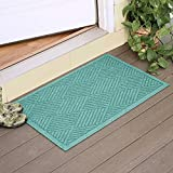 Large Entryway Rug with Non Slip Rubber Backing - Front Door Mat - Outdoor Indoor Entrance Doormat - Diamond Entryway Mat - Made in USA (Aquamarine)