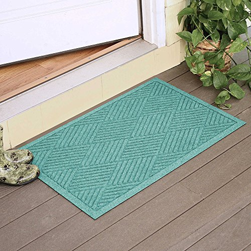 Large Entryway Rug with Non Slip Rubber Backing - Front Door Mat - Outdoor Indoor Entrance Doormat - Diamond Entryway Mat - Made in USA (Aquamarine) by Weather Guard