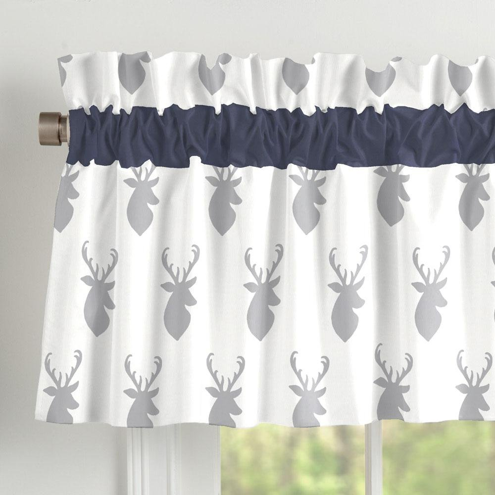 Carousel Designs Silver Gray Deer Head Window Valance Rod Pocket by Carousel Designs