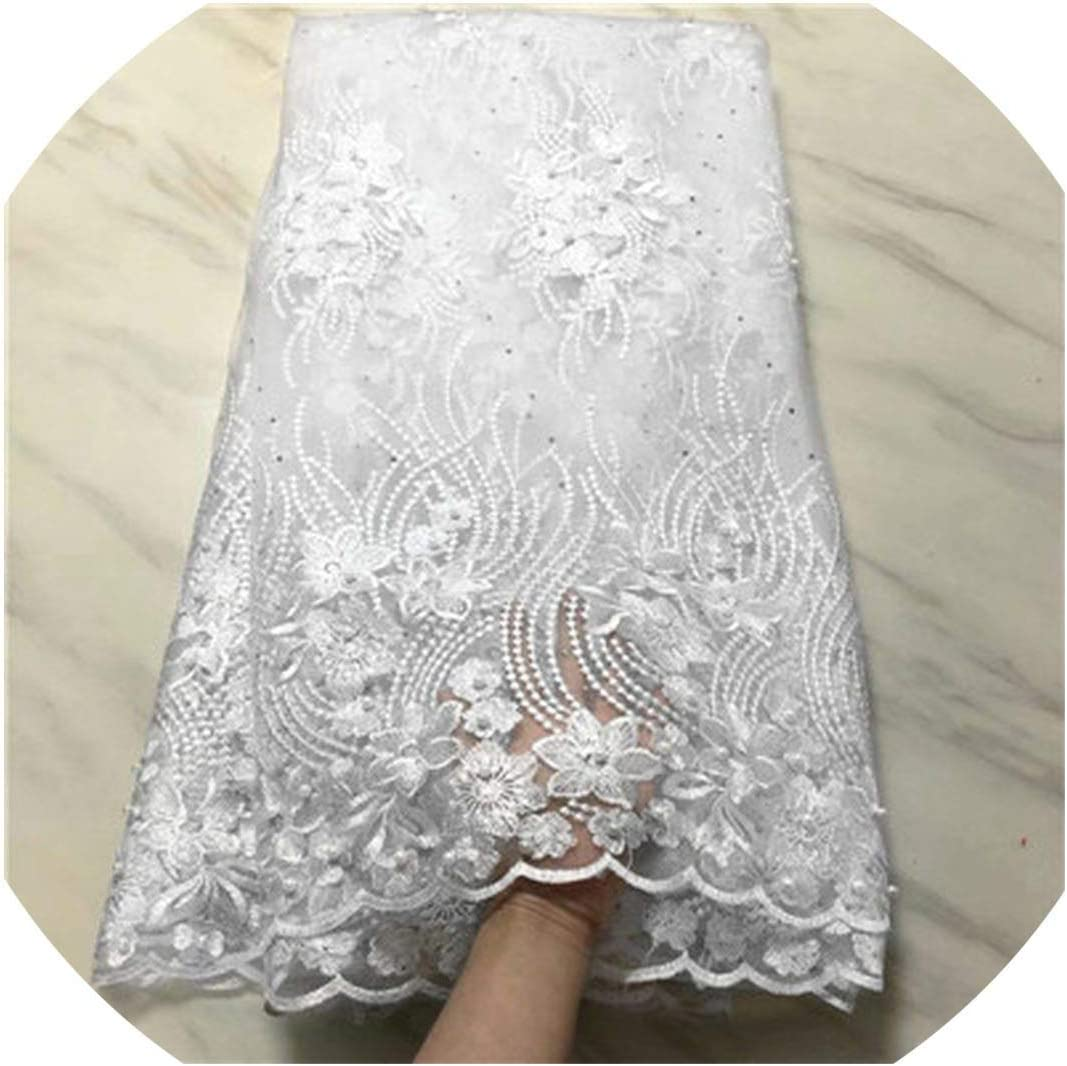 White African lace Fabric Embroidered lace Beaded lace Fabric for Wedding Bride 5yards per lot,PL801129F209