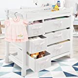Costzon Baby Changing Table, Infant Diaper Changing Table Organization, Newborn Nursery Station with Pad, Sleigh Style Nursery Dresser Changing Table with Hamper/ 6 Baskets