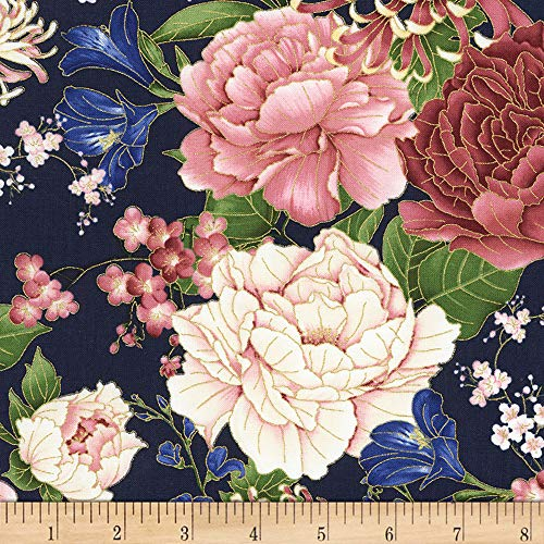 (Timeless Treasures 0561308 Metallic Sakura Chrysanthemums & Peonies Navy Fabric by The Yard,)