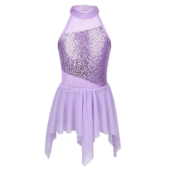 iixpin Vestido de Patinaje Artístico Niñas Lentejuelas Mailot de Danza Ballet Disfraz Bailarina Ropa Actuación Competencia 6-14 Años