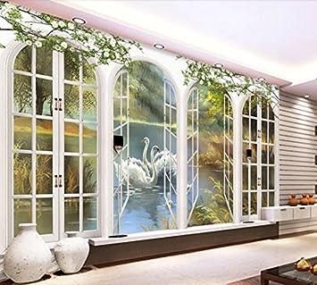 Yosot Benutzerdefinierte Tapeten Wohnkultur Bogen Malerei Schwan See Tapeten  Für Wohnzimmer 3D Wand Hintergrund Wandbild Tapete