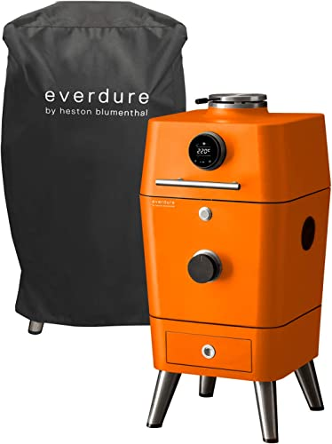 Everdure by Heston Blumenthal 4K Electric Ignition Charcoal Grill Cover Bundle, Oven Smoker, 21 Grilling Surface, Bluetooth Connectivity, Orange